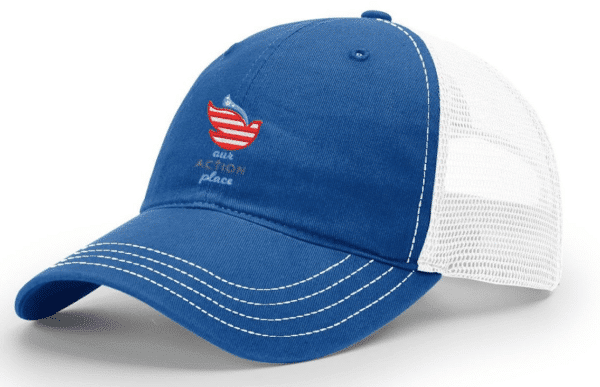 Blessings Through Action Trucker Hat Side View